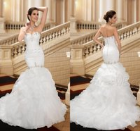 Wholesale Brilliant Trumpet - 2015 Brilliant Mermaid Wedding Dresses Luxury Custom made Sweetheart Backless Court train Beads Crystals Organza Bridal gowns Pleats