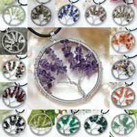Wholesale Gravel Mix - Natural Gem Gravel Beads Round Tree Of Life Winding Reiki Pendulum Pendant Charms Health Amulet Numen Jewelry 30X Mix Order