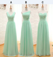 Wholesale Cheap Pretty Bridesmaid Dresses - Pretty Sage One Shoulder Long Bridesmaid Dresses Cheap Pleated Chiffon Sleeveless Floor Length A-line Zipper Wedding Party Girls Dress