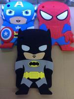 couverture 3d batman achat en gros de-25pcs / lot Pour Apple ipad mini 1 2 3 Bande Dessinée Mignon Batman Captain America Spiderman 3D Héros Silicone Enfants Doux Couverture Arrière