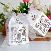 birdcages achat en gros de-2015 Livraison Gratuite 50 PCS / lots Laser Cut Birdcage Boîte de Faveur de Mariage en Boîte de papier blanc Perlescent, boîte de faveur de spectacle de partie