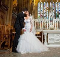 Wholesale Short Peplum Bridal Dresses - Vintage White Mermaid Wedding Dresses Cheap V Neck Half Sleeves Sheer Lace Applique Peplum Ruffles Sweep Train 2015 Tulle Bridal Gowns
