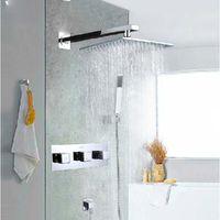 Wholesale Valve Polishing - Wholesale And Retail Polished Chrome Brass Bathroom Rain Shower Faucet Valve Mixer Tap w  Hand Shower Sprayer