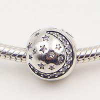 Wholesale Nights Zodiac - 925 Sterling Silver Twinkling Night Clip Charm Bead with Clear Cz Fits European Pandora Jewelry Bracelets & Necklaces
