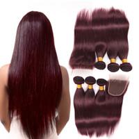 düz kırmızı saç uzantıları toptan satış-Bordo Şarap Kırmızı 99J Brezilyalı Bakire Saç Örgü Demetleri ile kapatma Perulu Malezya Düz Bebek İnsan Saç Uzatma