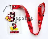 Wholesale Red Dangler - New Lot 50pcs red mickey mouse Lanyard strap Cell Phone ID Key Holder + pouch + soft dangler Wholesale free shipping