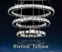 Wholesale round glass lighting pendants - AC110-240V Round Transparent Crystal Ceiling Lights Modern Crystal Chandelier LED Light Dining Room Pendant Light Lamp Lighting Fixtures