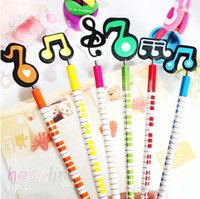 Wholesale Cute Christmas Stationery - Cute Music Notation Cartoon Wooden Pencils Novelty School Stationery Pencils For Students Christmas Gift 2015 New Arrival mixed order