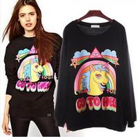 Wholesale sweater rainbow woman - Women Rainbow Unicorn Hoodie Sweatshirt Pullover Top Sweater Horse Printed Loose Hoodie Blouse Pullover Jumper Sweaters 10pcs OOA3375