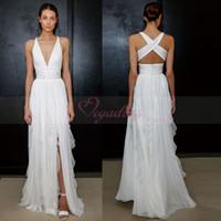 Wholesale Beach Wear For Sale - 2017 Sheath Wedding Dress for Greek Goddess Simple Brides Wear Sale Cheap Long Pleated Split Full Length Skirt Bohemian Boho Bridal Gowns