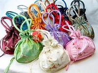 Wholesale Large Party Bags Free Shipping - Unique Large Party Favor Gift Bags Tote Silk Embroidery Drawstring Reusable Storage Pouches size 22x22 cm 50pcs lot mix color Free shipping