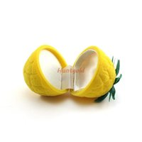 Atacado-Bright Personality Mini Anel de abacaxi amarelo Neacklace Earring Ear Stud Jewelry Box