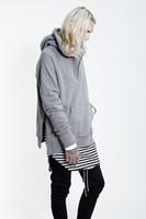 Wholesale Kpop Pullover - Wholesale-hiphop blank hoodies kpop clothes kanye west pullover black grey M-2XL side open oversized hood hoodie men jacket fear of god
