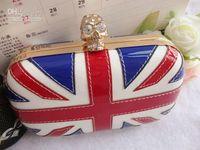 Wholesale Handbag Jack - WOMAN PUNK SKULL rivet union jack Evening Bag Clutch purse bags British flag handbags PARTY BAG gree