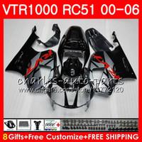 Wholesale Rc51 Fairings - Body For HONDA VTR1000 RC51 SP1 glossy black SP2 00 01 02 03 04 05 06 92HM3 RTV1000 VTR 1000 00 2000 2001 2002 2003 2004 2005 2006 Fairing