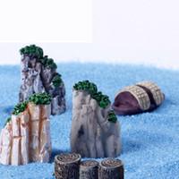 ingrosso mestiere dell'oceano-Sea Ocean Miniature Beach Barca a vela morto Albero Hill Dollhouse acquario Fata decorazione del giardino Terrario Moss Resina Artigianato DIY
