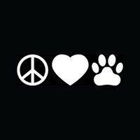 Wholesale Decal Sticker Dog - Wholesale PEACE LOVE PAW Sticker for Car Rear Windshield Vinyl Decal Animal Pet Heart Cat Dog Adopt Hot