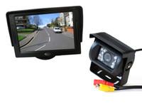 monitor de camara retrovisor 24v al por mayor-18 IR LED CCD cámara inversa 12V / 24V + 4.3