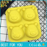 Wholesale Silicone Chocolate Sheet - Silicone Molds Winnie the Pooh Fondant Cake Decorations Bear Mold Cake Tools Handmade Craft Rubber Chocolate Mold 4 Holes per Sheet