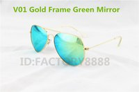 Wholesale order mirrors - Wholesale - 10pcs lot High Quality Gold Frame Green Mirror Lens branded Sunglasses For Men's Women's Designer Glass Lens 58MM can mix order