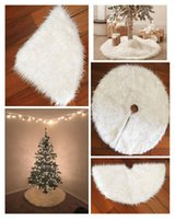 Wholesale Cheap Christmas Trees Decorations - Newest Christmas Tree Ornament Skirts Cheap White Fur Vintage Non-woven Apron Festive Party Christmas Decorations Supplies RED