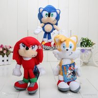 10pcs / lot 8 '' 3colors cadena Sonic The Hedgehog felpa muñeca de juguete clave