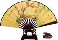"Wholesale Wholesale Chinese Buns - Chinese Wedding Fans Men Hand Fans 8"" Big Folding Fans Retro Bun Deco Fans Bamboo Wedding Tourism Guest Gift"