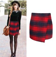 Wholesale Red Plaid Pencil Skirt - 2014 autumn and winter women Plaid skirt women's pencil skirt