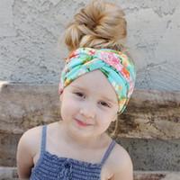 vendas anchas de algodón al por mayor-10 unids INS Algodón Recién Nacido Niño Niños Twist Knot Wide Hairband Baby Girl Diademas de Impresión Cruzada Baby Girl Headwrap Accesorios para el cabello
