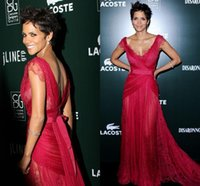 Wholesale Dream Evening Gown - 2015 Elie Saab Dreaming Prom Dresses Halle Berry Red Lace V-Neck Fashion T Show New Style Recommended Celebrity Dresses Evening Gowns GD-762