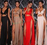 robe de fessée sexy femme nue achat en gros de-femmes été longues robes de soirée maxi rouge bandage fente club vestidos prom nu robes longues élégantes robes de plage à fente OM327