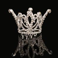 Wholesale Mini Round Crowns - Cute Mini Circle Round Crystals Hair Crown Kids Bridal Princess Designs Wedding Hair Crown Tiaras