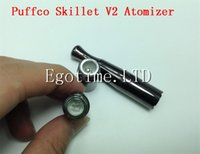 Wholesale Skillet Vaporizer Battery - Puffco Vaporizer Skillet V2 Atomizer Quartz Wax Vaporizer Clone with Dual quartz Coil Gun Metal Color Metal Drip Tip for 510 thread battery