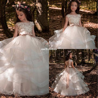 Wholesale wedding dress back hole - 2018 New Cute Ivory Tiered Skirts Flower Girls Dresses With Appliques Belt Bow Back Hole Kids Pageant Gown First Communion Dresses Custom