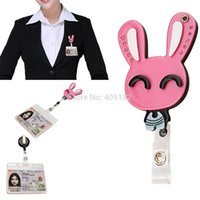 Wholesale-Red reizende Kristall Bunny Rabbit Mirror of ID / IC-Badge Reel Clip Flexible Wechselarmatur