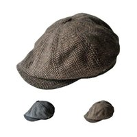 Wholesale Twill Newsboy Cap - S5Q Autumn-winter Men's Fashion Casual Wool Tweed Blend Cap Child Octagonal Hats AAAFGY