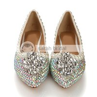 Wholesale Multi Color Crystal Shoes - 2015 New Rhinestone Crystal Imitation Pearl Pointed Toe Wedding Dancing Prom Women Shoes Flats Silver Patent Leather Multi-color LSDN-1103