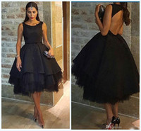 Wholesale royal petticoats resale online - Classic Arabic Black Prom Dresses Beaded Satin Tulle Petticoat Prom Ball Gowns Knee Length Hollow Back Sexy Party Dresses Evening Wear