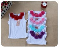 Wholesale Pettiskirts Tops - pettiskirt tank tops Girls pettiskirts tutu T shirt girl's vest tee tops shirts candy colors 5 p l