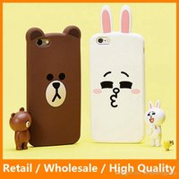 Wholesale Lovely Iphone Wallet Cases - Lovely Animal Cases Cute Cartoon Brown Bear Cony Rabbit Soft Silicone Case for iPhone 6 6s 6Plus 6sPlus Cell Phone Bags Cover