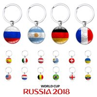 Wholesale Keychain World Cup Souvenirs - New 2018 World Cup Football Keychain Flag Logo Soccer Club Fans Keyring Country Key Chains Souvenir Pendant Accessories Gift