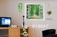 Wholesale Decorative View Window - Factory Wholesale Big Size Removable Fictitious view of out side the window wall decals,decorative Mural decor 60X90cm 20pcs lot