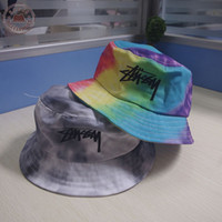 Wholesale Wide Brim Visors For Women - Wholesale-2015 New style cotton bucket hat Tie Dye washed crusher bucket hats for women outdoor leisure travel cap visor sun hat