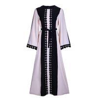 Wholesale wholesale muslim clothing - Formal noble Arab clothing classic lace stitching chiffon dress Muslim cardigan gown black abaya spot free shipping