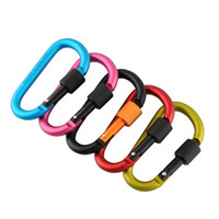 Wholesale Security Hook Lock - Wholesale-Aluminum Carabiner 8cm D-Ring Locking Key Clip Hook Snap For Sport Security Camping Climbing Hiking New