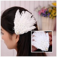Wholesale Cheap Feather Hair Clips - 2015 Vintage Feather Wedding Hair Clips Lace Crystal Bridal Barrettes Handmade Wedding Prom Party Hair Accessories with Faux Pearls Cheap