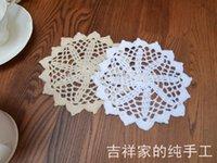 Wholesale Tea Cups Felt - 2015 new arrival 14cm 30 pics lot natural cotton crochet lace felt for home decor doilies cup coaster tea table decoration mats