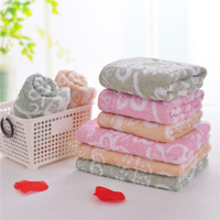 Wholesale Baby Facecloth - floral bath towel baby summer blanket facecloth 60% cotton & 40% bamboo hand face beach towels square