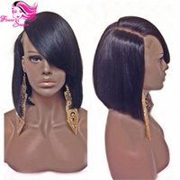 Wholesale Long Layered Brown Wig - New Style For 2015 Summer Brazilian Human Hair Short Bob Full Lace Wig Unprocessed Human Hair Layered Bob Wigs For Black Women