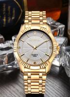 Wholesale Mens Pc Quartz Watch - US 10 PCS men top luxury golden watch white face stainless steel diamonds name brand quartz mens wrist watches business clock wholesale